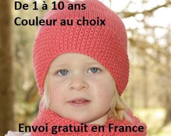 Bonnet snood enfant laine et alpaga tricoté main, col cheminée fille garçon  bébé, cadeau anniversaire, écharpe accessoire automne hiver f60081017f3