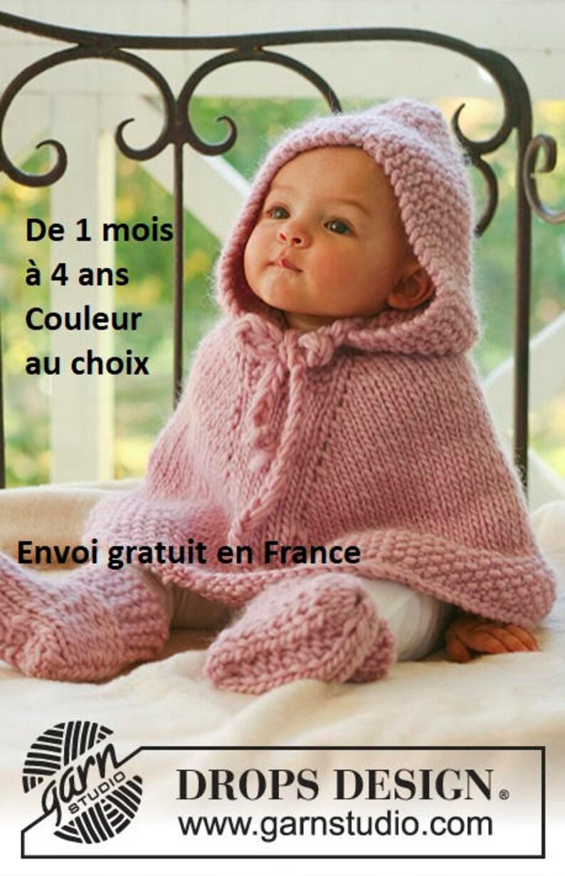 19c628ec8a7 Poncho bébé pure laine avec capuche tricoté main cape | Etsy