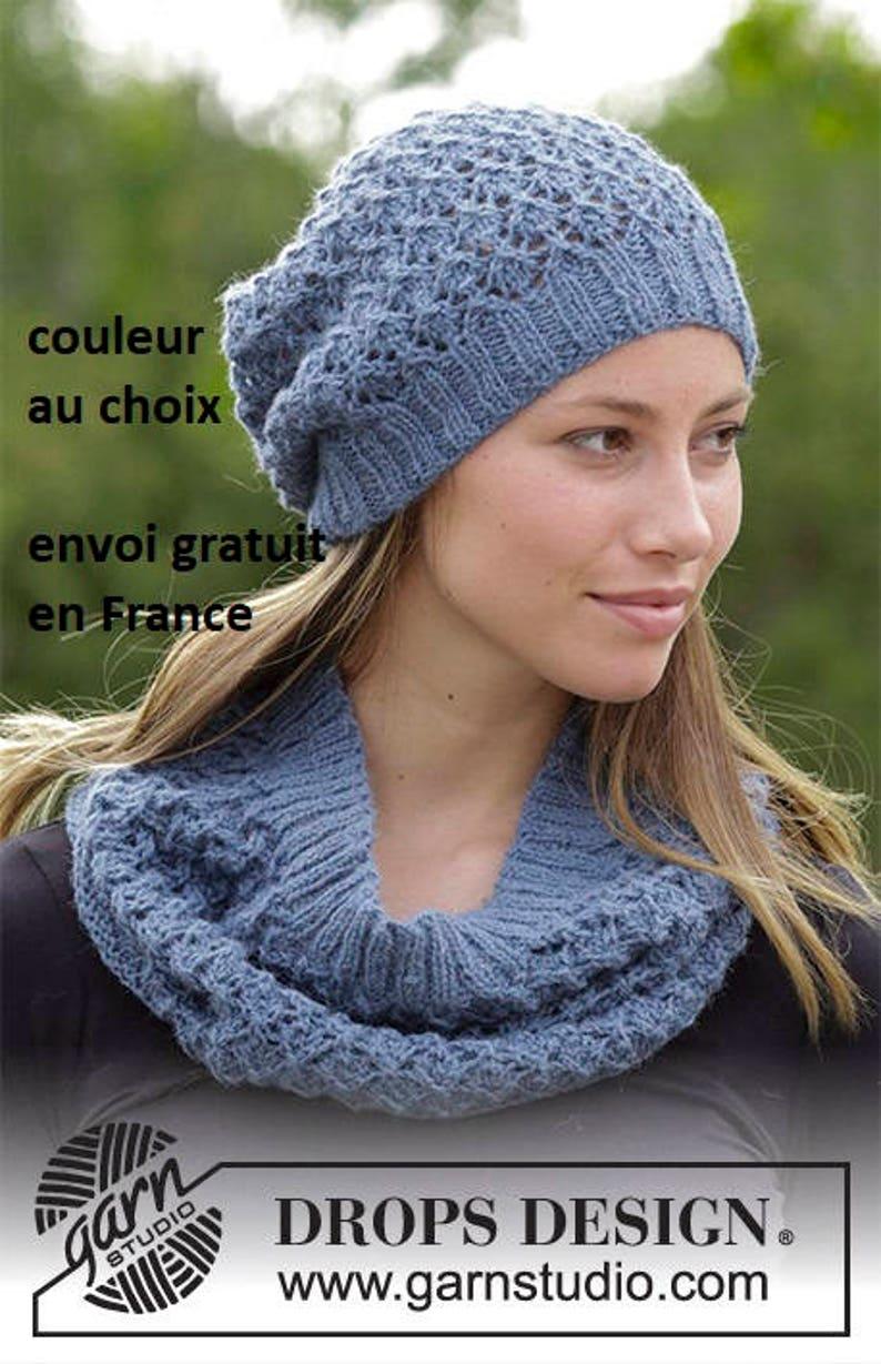 f38c912415f Openwork stitch beret hat scarf scarf shawl knit hat