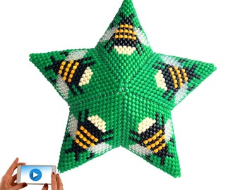 3D Peyote Bumble Bee Star, New Video Style Pattern, Geometric Beading Pattern, Bumble Bee Beaded Star Tutorial