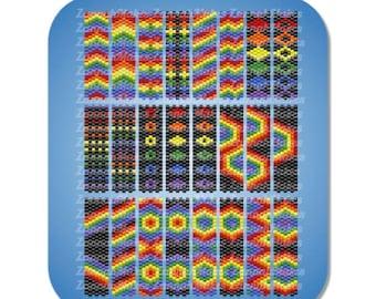 Carrier Bead Rainbow, Odd Count Peyote Rainbow, Pride Peyote Pattern, Nearly Free Beading Pattern