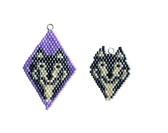 Brick Stitch Wolf Charm, beaded diamond shape, earrings, charm bracelet. Goes with the Lockdown Menagerie Wolf Pack Star