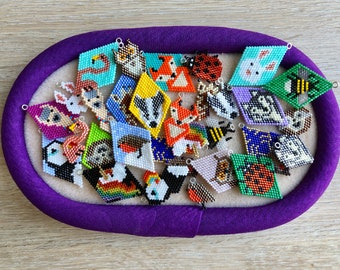 BUNDLE of ALL Diamonds and Charms patterns, beaded diamond shape, earrings. Goes with the Lockdown Menagerie Stars