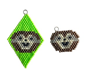 Brick Stitch Sloth Charm, beaded diamond shape, earrings, charm bracelet. Goes with the Lockdown Menagerie Snuggle of Sloths Star