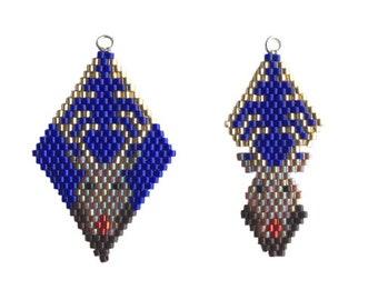 Brick Stitch Rudolf Reindeer Stag Charm, beaded diamond shape, earrings, charm bracelet.