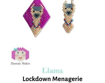 Brick Stitch Llama Charm, beaded diamond shape, earrings, charm bracelet. Goes with the Lockdown Menagerie Alarm O'Llamas Star