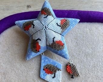 BUNDLE Brick Stitch Robin Charm AND  the Lockdown Menagerie Round of Robins Star, beaded diamond shape, earrings, charm bracelet.