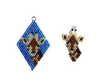 Brick Stitch Giraffe Charm, beaded diamond shape, earrings, charm bracelet. Goes with the Lockdown Menagerie Tower of Giraffes Star