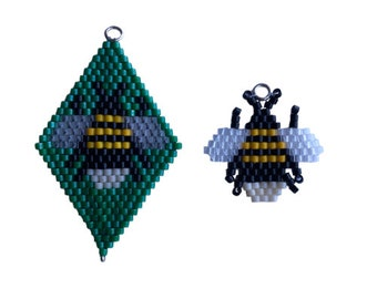 Brick Stitch Bee Charm, beaded diamond shape, earrings, charm bracelet. Goes with the Lockdown Menagerie Drift of Bumble Bees Star