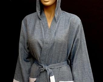 Navy blue and black colour lightweight Turkish super soft cotton hooded  bathrobe. 77171a146