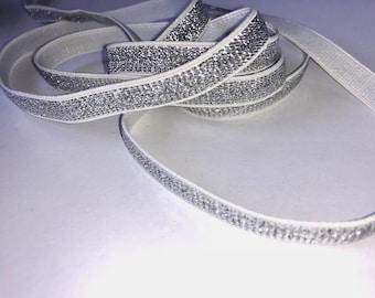 Silver edge 10mm white elastic