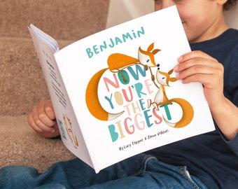 Now You're The Biggest Personalised Children's Book | Baby Brother Sister | Big Brother | Big Sister | Older Sibling Book | Personalized