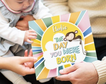 The Day You Were Born Personalised New Baby Book | New Baby | Personalized Baby Book | Personalised Gifts for Newborns | Baptism Gift