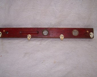 repurposed vintage level, coat rack, spirit level, jewery  rack