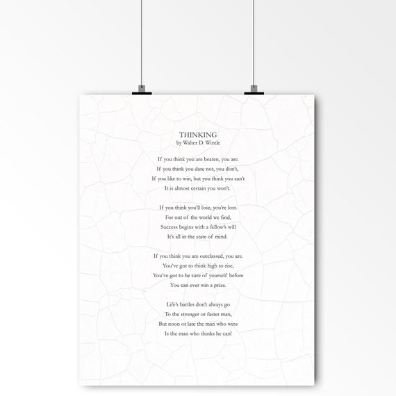 Art Print Graduation Gift Motivational Quote Walter D Wintle The Victor Man Who Thinks He Can Literary Art Inspirational Art
