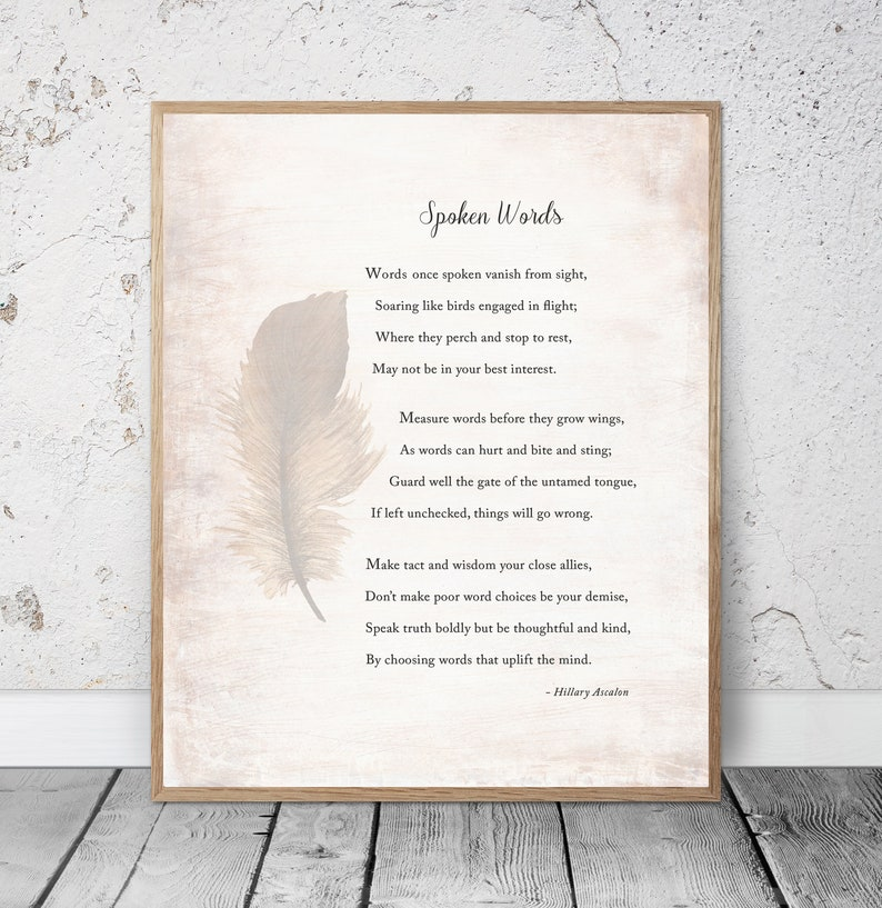 Speech, Words, Power of Spoken Words, Writer, Author Gift Idea, Poem by  Hillary Ascalon, Office Decor, 5