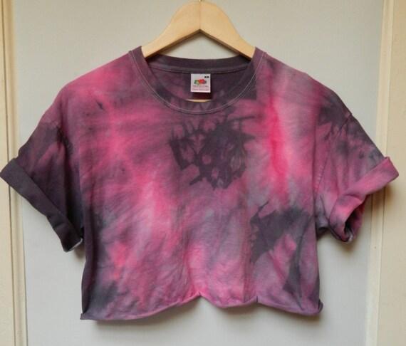 e913b2cb928 Tie Dye acid wash crop top Cutoff Tshirt hipster festival