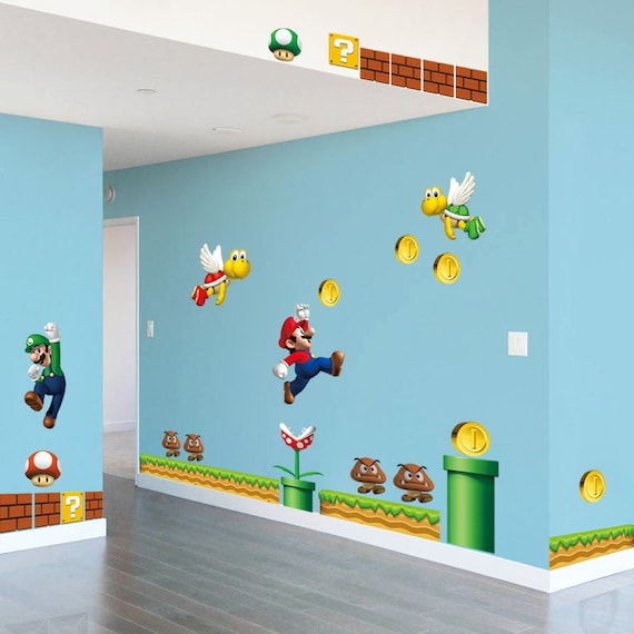 3D Super Mario Bros Desmontable Pegatinas de pared Calcoman/ía Decoraci/ón para el hogar para ni/ños