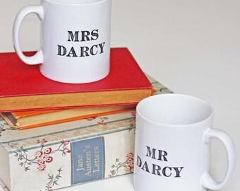 Mug - Mr & Mrs Darcy - Jane Austen Wedding Gift Set Mugs - Anniversary - Pride and Prejudice - Book Lover Gifts - Hen Night - Vintage Font
