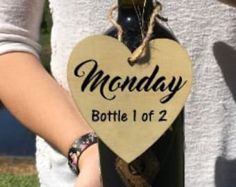 Monday Bottle 1 of 2 - laser cut wooden wine tag - wine gift tag - custom wine tag lable - handmade - custom wording available!