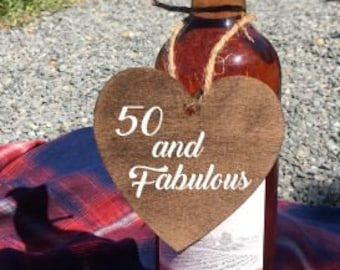 50 and Fabulous - laser cut wooden wine tag - wine gift tag - custom wine tag lable - handmade - custom wording available!