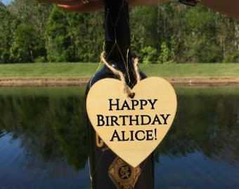 Happy Birthday! Personalized laser cut wooden wine tag -wine gift tag - custom wine tag lable - handmade - custom wording available!