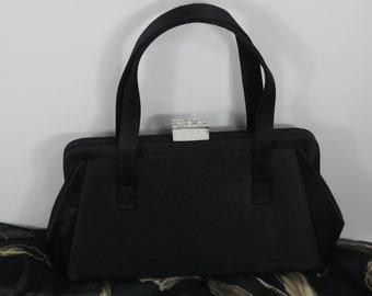 Petit sac noir ~ sac strass fermoir - parti sac à main de soirée Satin