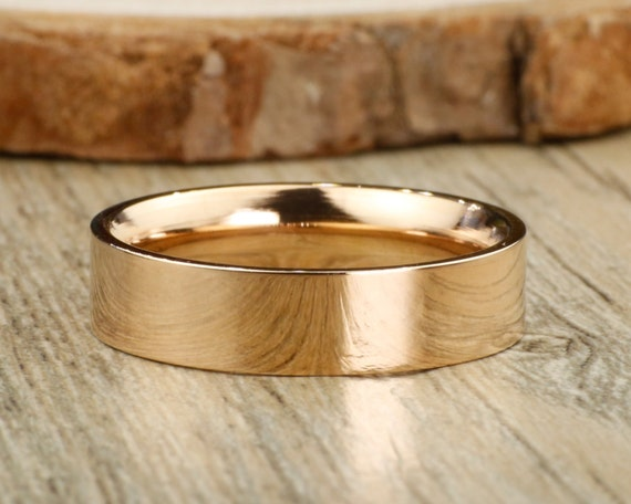 Handmade Rose Gold Flat Plain Matching Wedding Band Men Ring Etsy