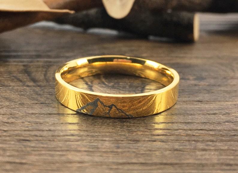 Handmade Your Drawings Ring Unique Wedding Band Gold Titanium Promise Ring Couple Ring Women Men Ring Polished Finish Flat Shape 4mm