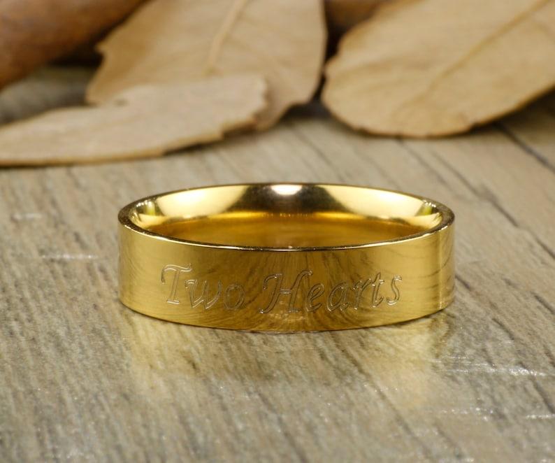 Engrave Ring Promise Ring Men Ring Couple Ring Wedding Band Titanium Anniversary Ring Handmade Gold Customized Flat shape ring