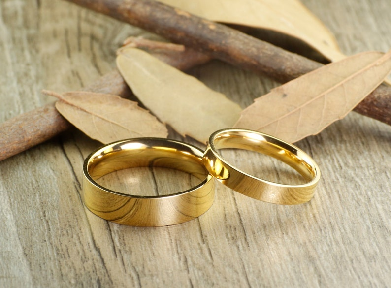 18d147bb84 Handmade Gold Flat Plain Matching Wedding Bands Couple Rings | Etsy