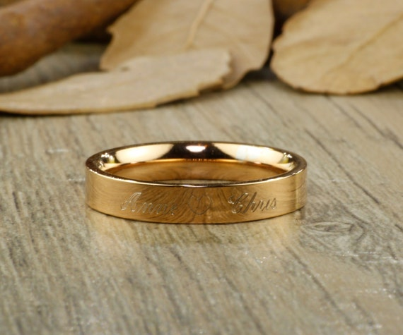 Personalized PROMISE RING Rose Gold Titanium Rings 4mm
