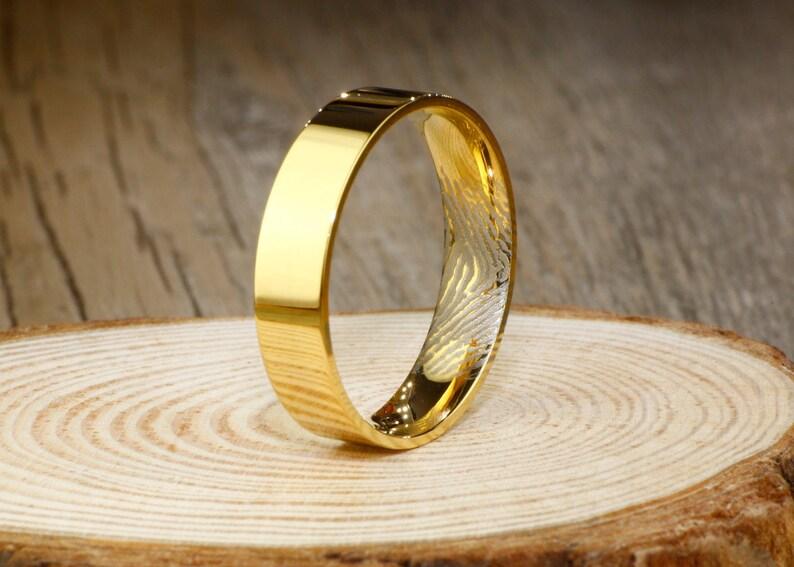 Anniversary Rings Titanium Rings Set Couple Rings Set Custom Inner Fingerprint Rings Simple Gold Wedding Bands