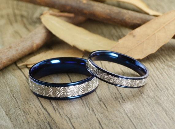 Handmade Blue Wedding Bands Couple Rings Set Titanium ...