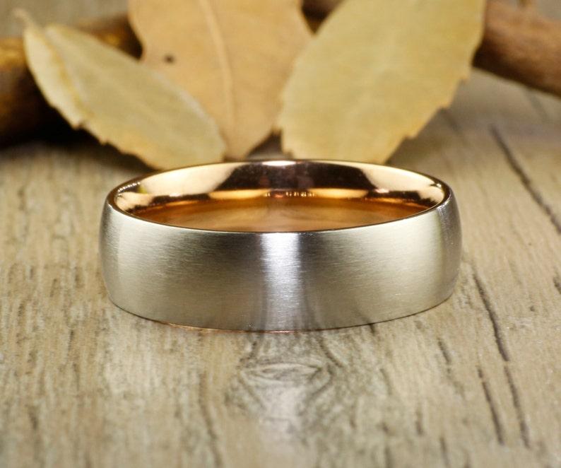 Handmade Rose Gold Matte Wedding Bands Couple Rings Set Titanium Rings Set Anniversary Rings Set