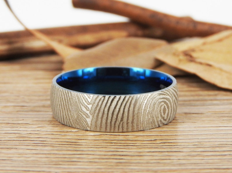 WEDDING RING Your Actual Finger Print Rings Men Ring Two Tone Color Titanium Rings 7mm Friendship Rings Family Fingerprints