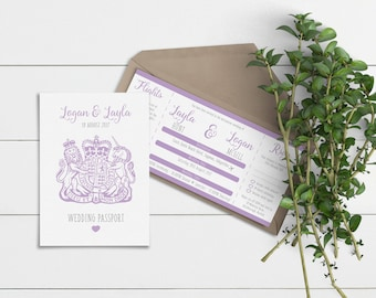 Lilac/Lavender Passport & Boarding Pass // Wedding Invitation Suites // Sample Only // Printed Copies or Print Yourself // #4006