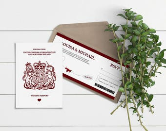 Burgundy Passport & Boarding Pass // Wedding Invitation Suites // Sample Only // Printed Copies or Print Yourself // #4008