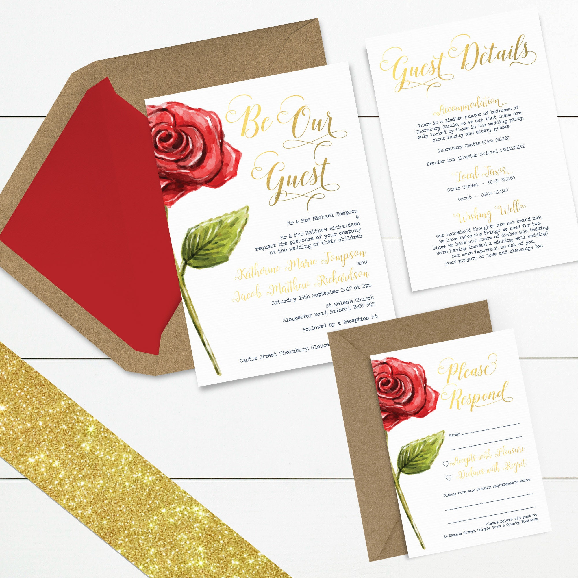 Enchanted Rose Fairytale & Gold Glitter // Wedding Invitation