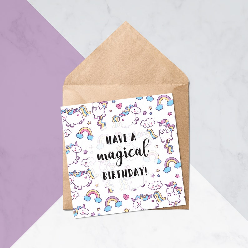 Magical Unicorn Birthday Cute Cards For