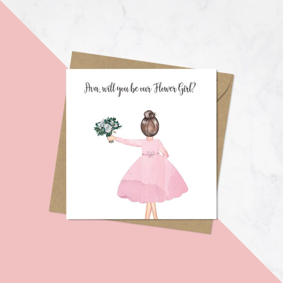 personalised flower girl proposal card will you be our