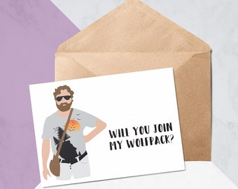 Will You Join My Wolfpack? // Will You Be My Best Man Cards // Alan The Hangover // Personalised Wedding Card // Greeting Card #1