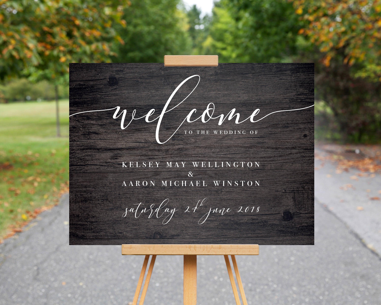 Wedding Welcome Sign // Wood Effect Wedding Sign //