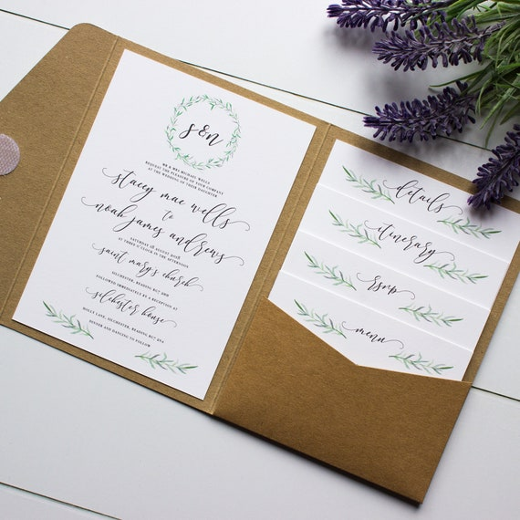 Wedding Invitation Folders With Pocket: Rustic Botanical Wreath // Pocket-fold Invitation Sample