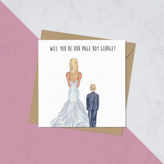 Will you be my Page boy Ring Bearer Invite Invitation Wedding Poem Post Card