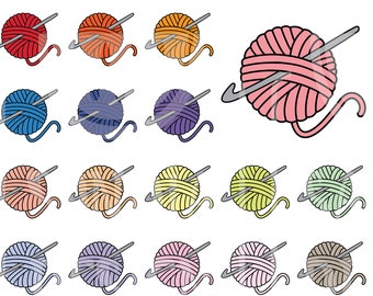 45 Doodle Crochet Clipart. Personal and comercial use.