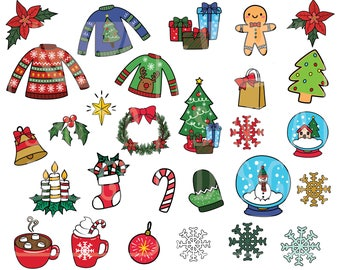 Doodle Christmas Elements Clipart. Personal and comercial use.