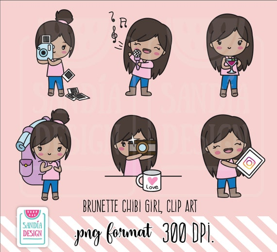Brunette Hobbies Clipart Chibi Girl Personal And Comercial Etsy