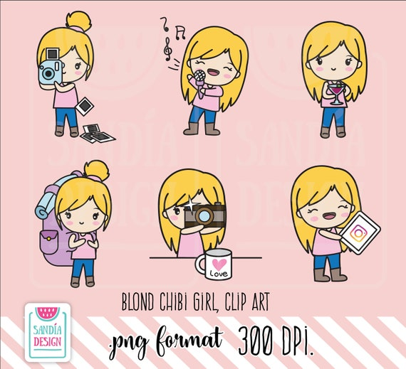 Blond Hobbies Clipart Chibi Girl Personal And Comercial Use Etsy