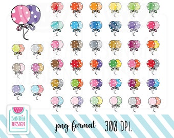 40 Doodle Balloon Clipart. Birthday Balloon Clipart. Personal and comercial use.